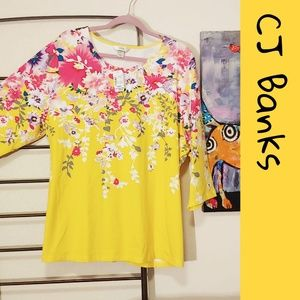 CJ Banks floral knit t-shirt Happy Yellow! 💘 NWT